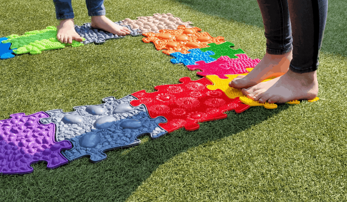 MUFFIK Sensory Orthopedic Floor Mats on grass Children Play